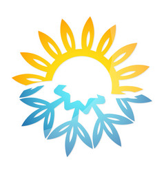 snowflake and sun heating cooling vector image