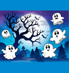 Spooky tree theme image 9 vector