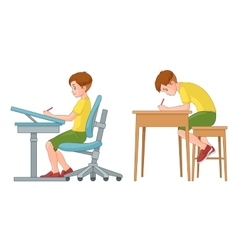 Student boy writing Incorrect and correct back vector