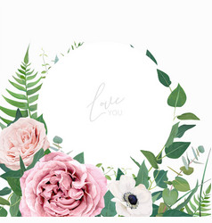 Stylish floral watercolor wedding invite greeting vector