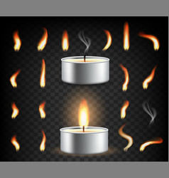 Tea light candle set isolated vector