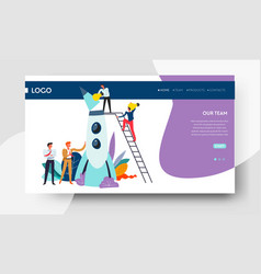 teamwork and startup web page template spaceship vector image