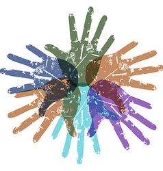 Teamwork color hands around vector