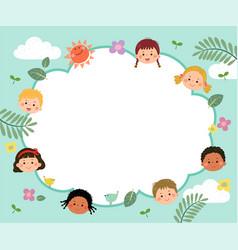 template with cartoon happy kids vector image