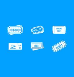ticket icon blue set vector image