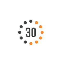 Timer sign 30 min on white background countdown vector
