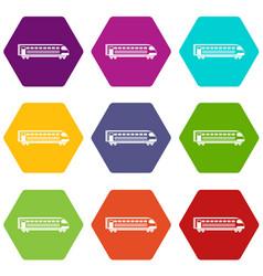 train icon set color hexahedron vector image
