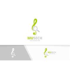 treble clef and loupe logo combination vector image