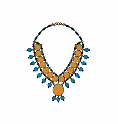 Turquoise necklace vector