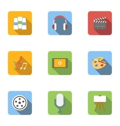 Types of art icons set flat style vector