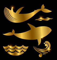 whale and waves silhouettes vector image