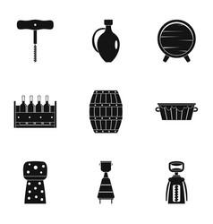 Wine restaurant icon set simple style vector