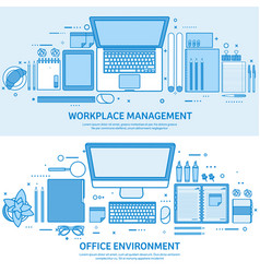 workplace with computer laptop documents papers vector image