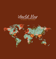 World map floral pattern in brown background vector