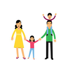young parents posing with their sona and daughter vector image