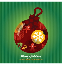 Christmas Ornament with lettering Green background vector image vector image