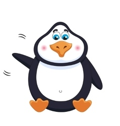 Kind cheerful cute penguin sits fat birdie vector image