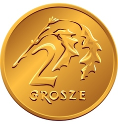 reverse Polish Money two groszy copper coin vector image