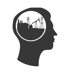 silhouette head tower oil vector image