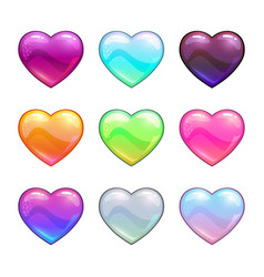 cartoon colorful glossy hearts vector image vector image