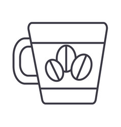 coffee cup with beans line icon sign vector image