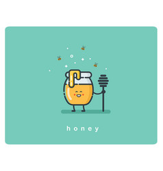 flat icon jar of honey funny cartoon character vector image vector image
