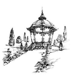 Gazebo in the park vector image vector image