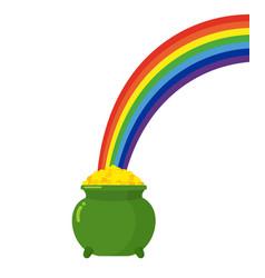 pot of gold leprechaun and rainbow st patricks vector image
