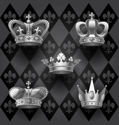 royal crowns set in black and white colors on vector image