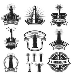 set of the badges with lighthouses design vector image