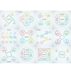 Thin line flat elements set for infographic vector image