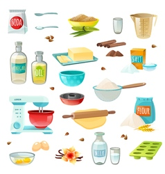 Baking Ingredients Colored Icons vector image
