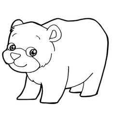 Cartoon cute bear coloring page vector