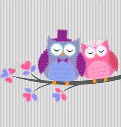 Couple owls in love yle vector image vector image