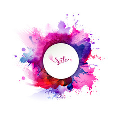 Purple blue lilac orange and pink watercolor vector