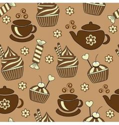 seamless brown background with tea and sweets vector image vector image