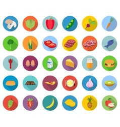 Set of food icons in flat design with long shadows vector image