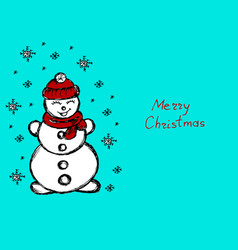 snowman its snowing snowflakes blue winter hand vector image