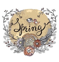Hand lettering word Spring with floral wreath and vector image