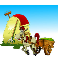 horse and haystack vector image vector image
