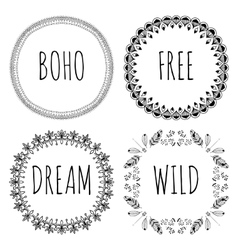 Set of Boho Style Frames and hand drawn elements vector image vector image