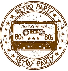 Stamp flyer with cassette tape vector image