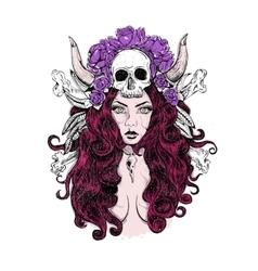 Tattoo woman skull vector