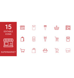 15 supermarket icons vector image