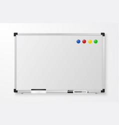 3d realistic blank magnetic whiteboard with vector