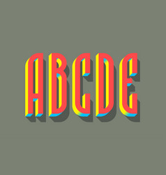 A b c d e red blue yellow 3d letters vector