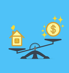a dollar coin and a house on the scales vector image