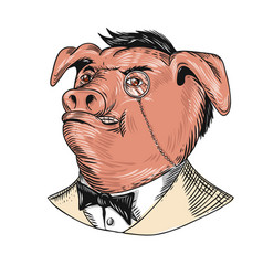 Aristocrat pig monocle tuxedo drawing vector