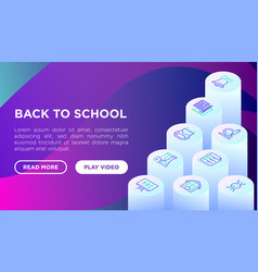 back to school concept with line isometric icons vector image