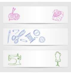 Banners with sewing and knitting supplies vector